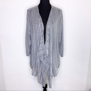 Torrid gray crochet front open cardigan size 3 or 3X